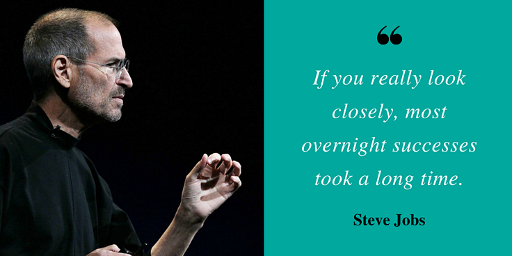 """""""If you really look closely, most overnight successes took a long time."""" - Steve Jobs"""