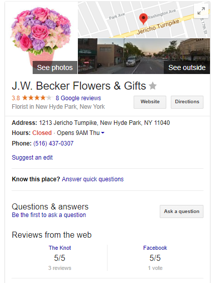 Google knowledge card