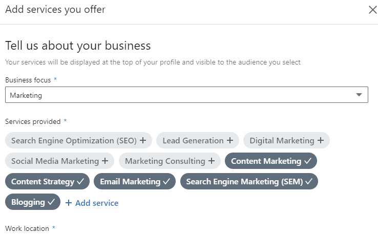 LinkedIn Services You Offer Showcase Services feature