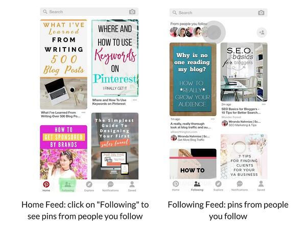 Pinterest home feed and following feed