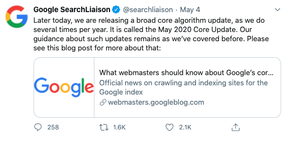May 4th Google core Update Confirmation