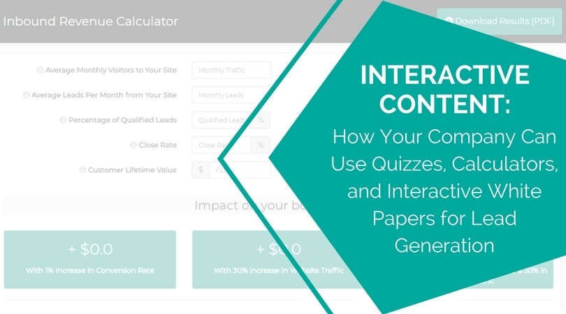 Interactive Content: How Your Company Can Use Quizzes, Calculators, and Interactive White Papers for Lead Generation