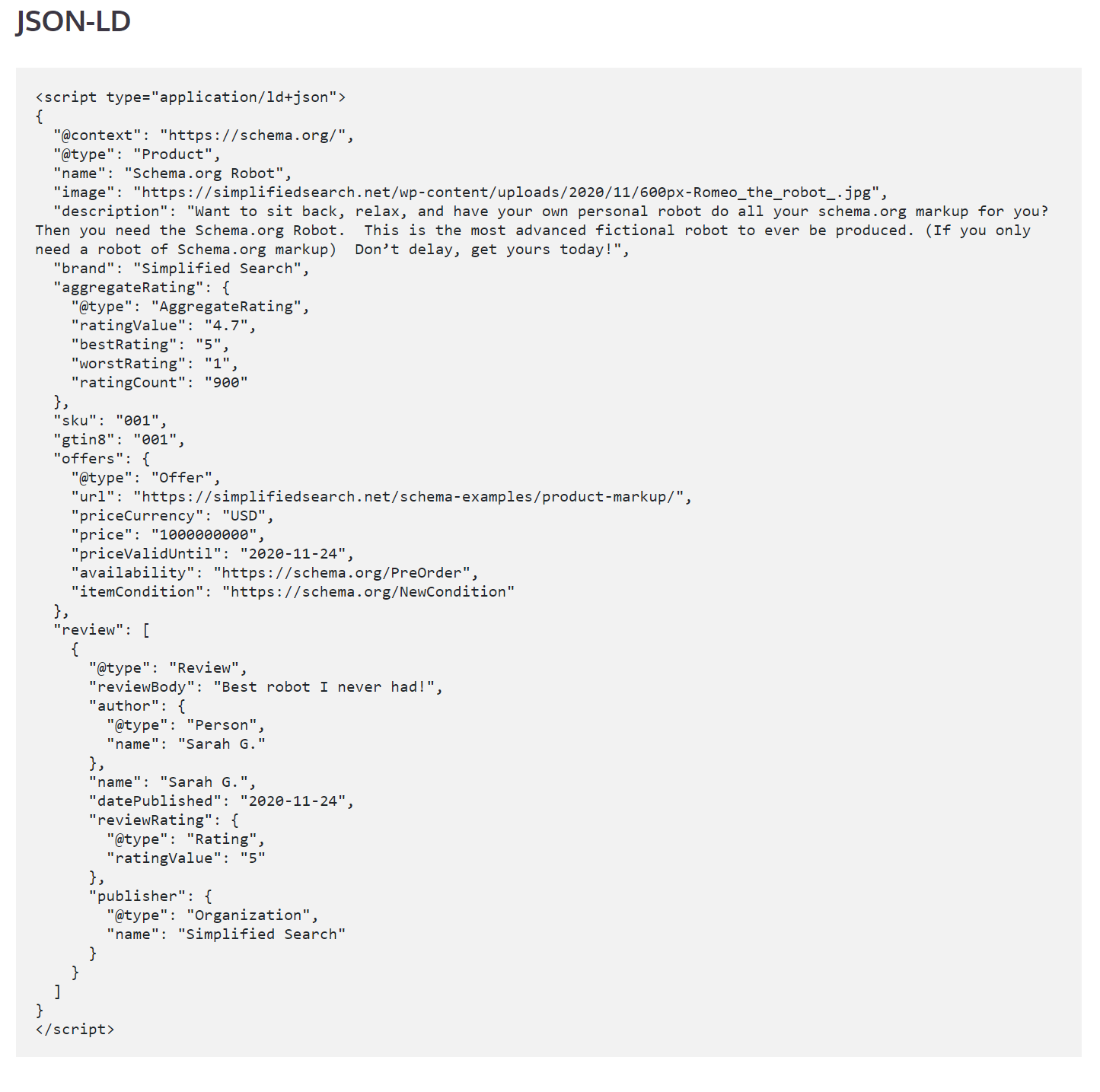 JSON-LD Review Example code