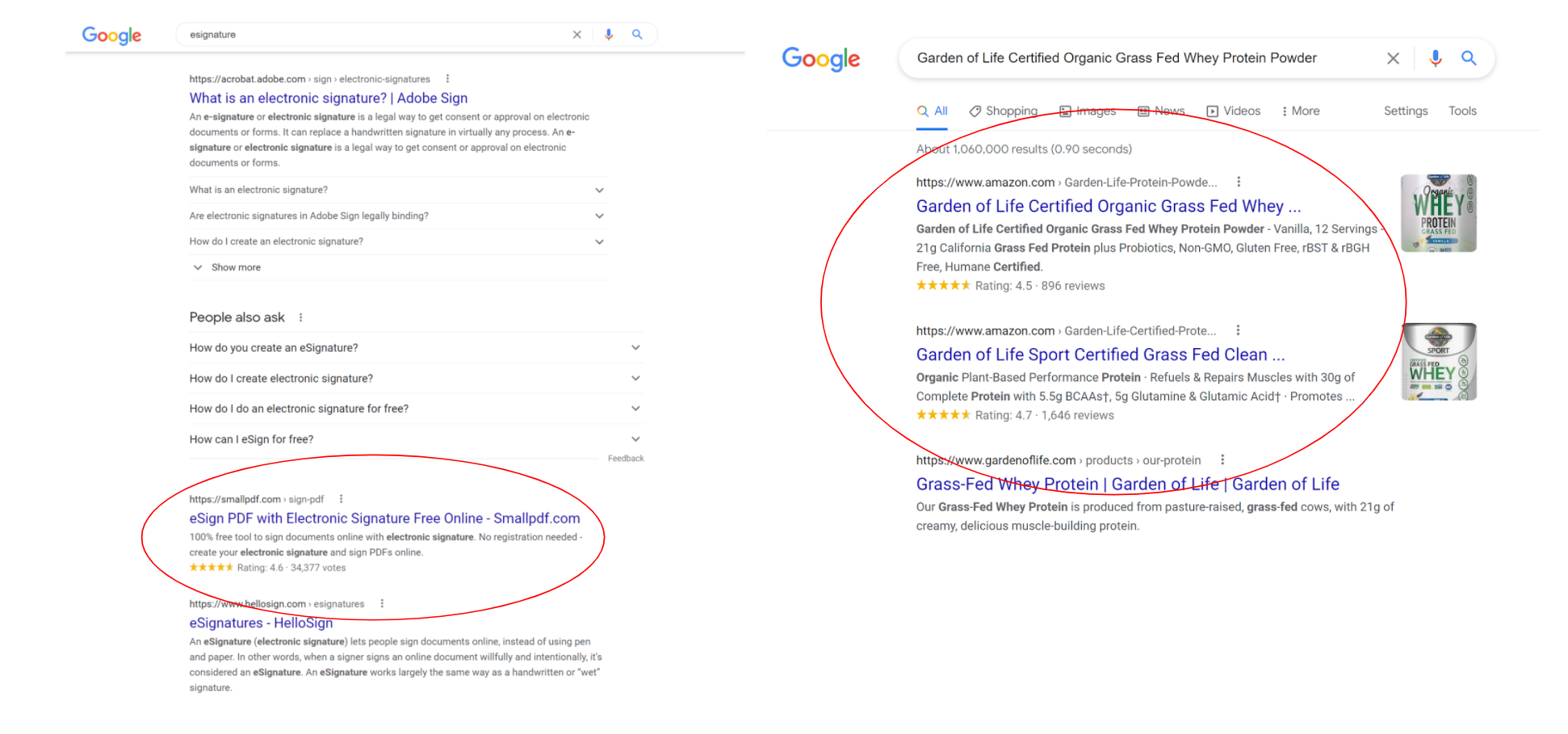 Review stars within the SERP results